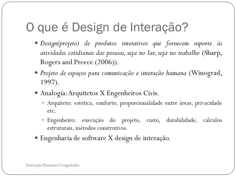 O processo de Design de Interação Interação Humano Computador Objetivos do design de interação.