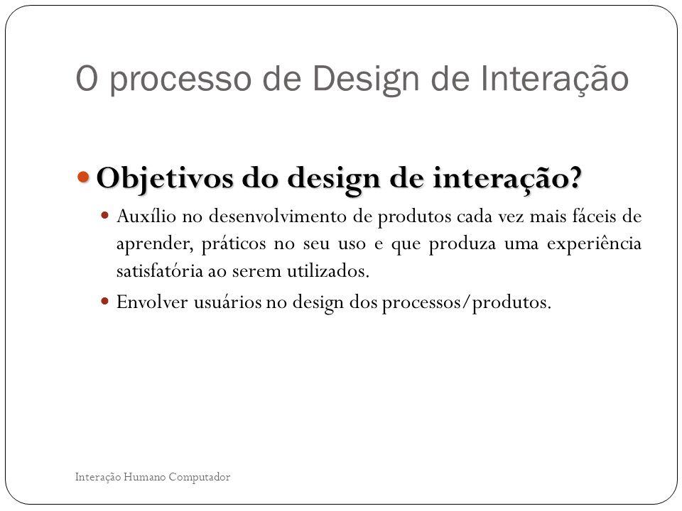 O processo de Design de Interação Interação Humano Computador O que está envolvido no processo de design de interação.