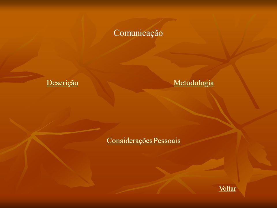 Comunicação DescriçãoMetodologia Considerações Pessoais Voltar