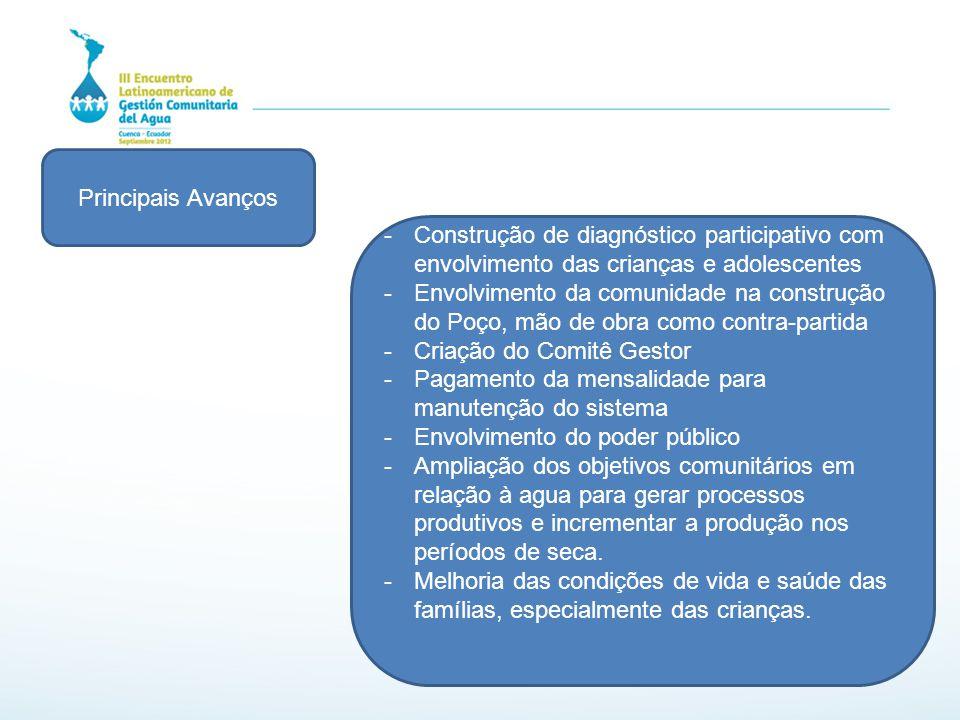 Principais Avanços -Construção de diagnóstico participativo com envolvimento das crianças e adolescentes -Envolvimento da comunidade na construção do