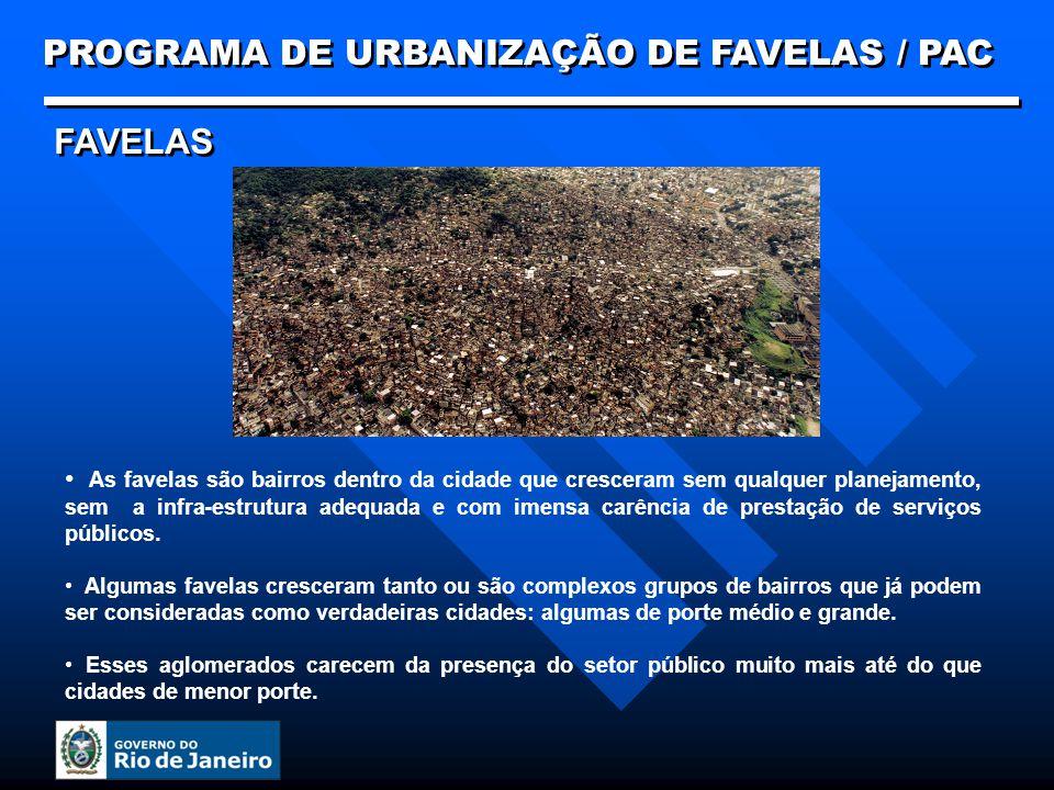 FAVELAS As favelas são bairros dentro da cidade que cresceram sem qualquer planejamento, sem a infra-estrutura adequada e com imensa carência de prest