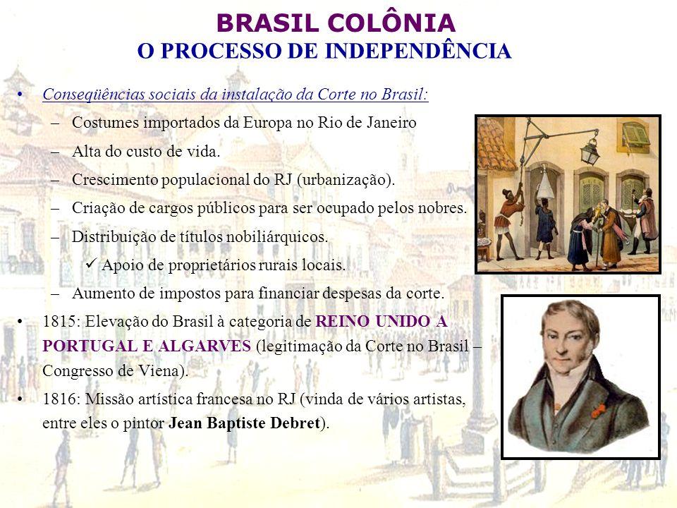 BRASIL COLÔNIA O PROCESSO DE INDEPENDÊNCIA Conseqüências sociais da instalação da Corte no Brasil: –Costumes importados da Europa no Rio de Janeiro –A