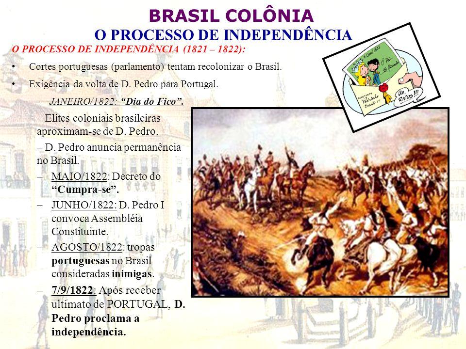 BRASIL COLÔNIA O PROCESSO DE INDEPENDÊNCIA O PROCESSO DE INDEPENDÊNCIA (1821 – 1822): Cortes portuguesas (parlamento) tentam recolonizar o Brasil. Exi