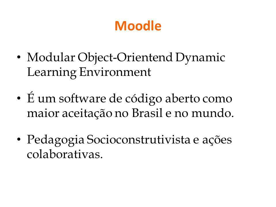 Moodle Modular Object-Orientend Dynamic Learning Environment É um software de código aberto como maior aceitação no Brasil e no mundo. Pedagogia Socio