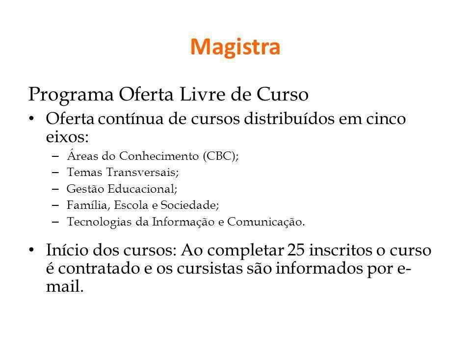 Magistra Programa Oferta Livre de Curso Oferta contínua de cursos distribuídos em cinco eixos: – Áreas do Conhecimento (CBC); – Temas Transversais; –