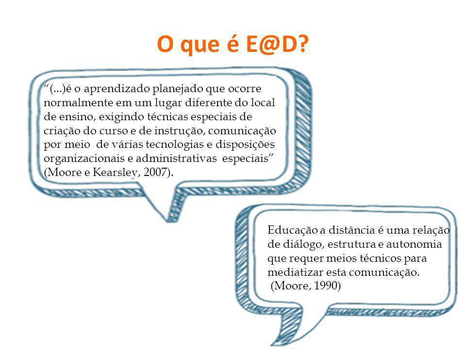 O que é E@D? (...)é o aprendizado planejado que ocorre normalmente em um lugar diferente do local de ensino, exigindo técnicas especiais de criação do