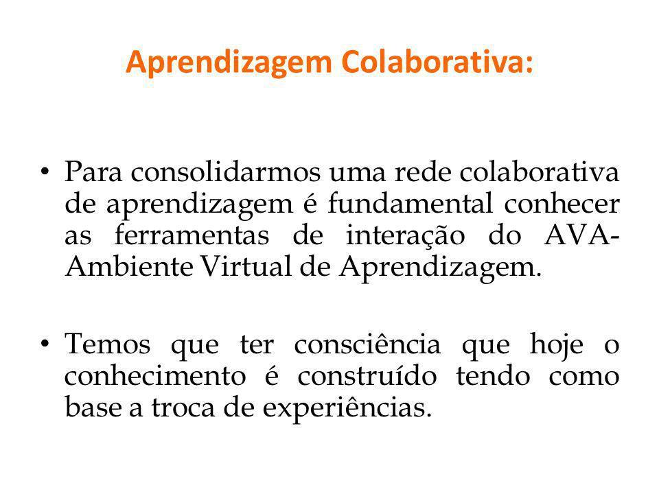 Aprendizagem Colaborativa: Para consolidarmos uma rede colaborativa de aprendizagem é fundamental conhecer as ferramentas de interação do AVA- Ambient