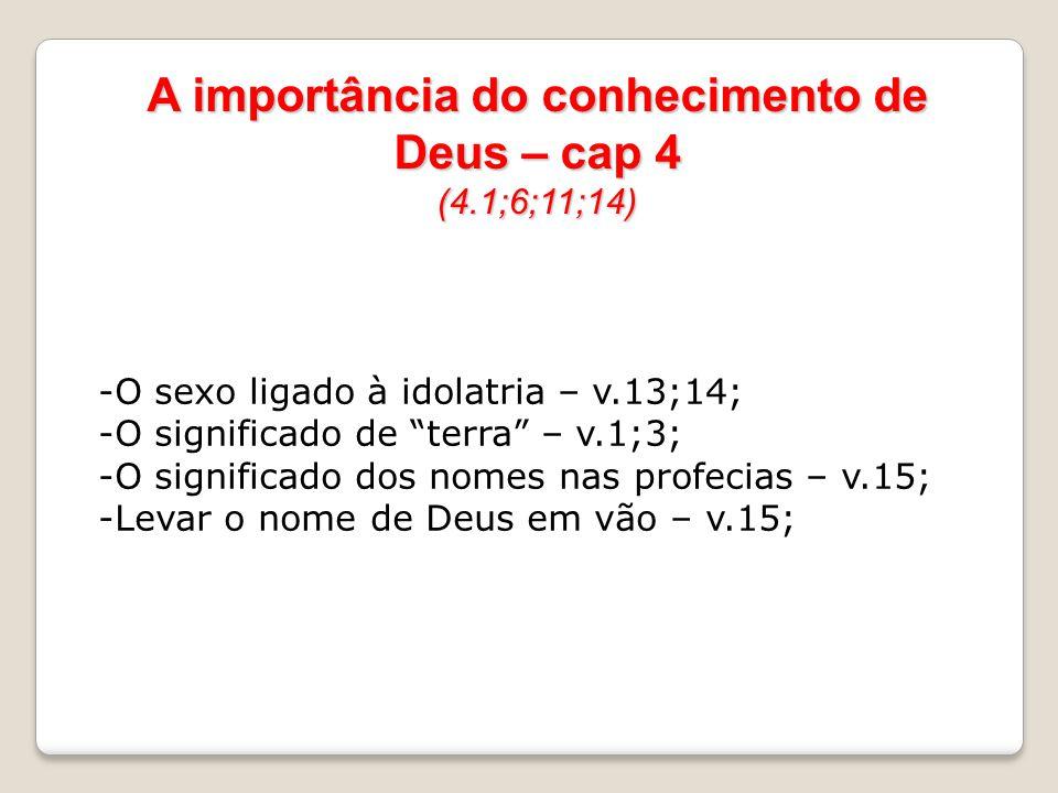 A importância do conhecimento de Deus – cap 4 (4.1;6;11;14) -O sexo ligado à idolatria – v.13;14; -O significado de terra – v.1;3; -O significado dos