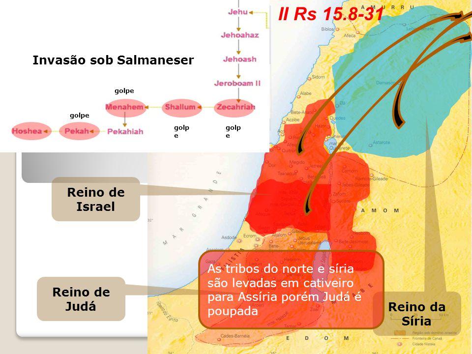 Reino de Judá Reino de Israel Reino da Síria Invasão sob Tiglate Pileser III Invasão sob Salmaneser As tribos do norte e síria são levadas em cativeir