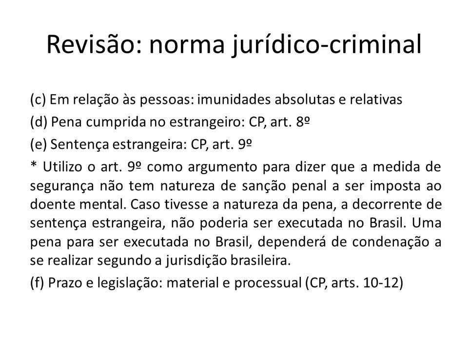 Revisão: norma jurídico-criminal (c) Em relação às pessoas: imunidades absolutas e relativas (d) Pena cumprida no estrangeiro: CP, art. 8º (e) Sentenç