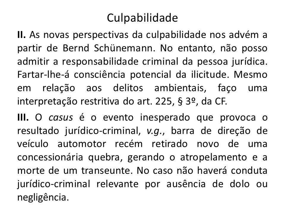 Culpabilidade II. As novas perspectivas da culpabilidade nos advém a partir de Bernd Schünemann. No entanto, não posso admitir a responsabilidade crim