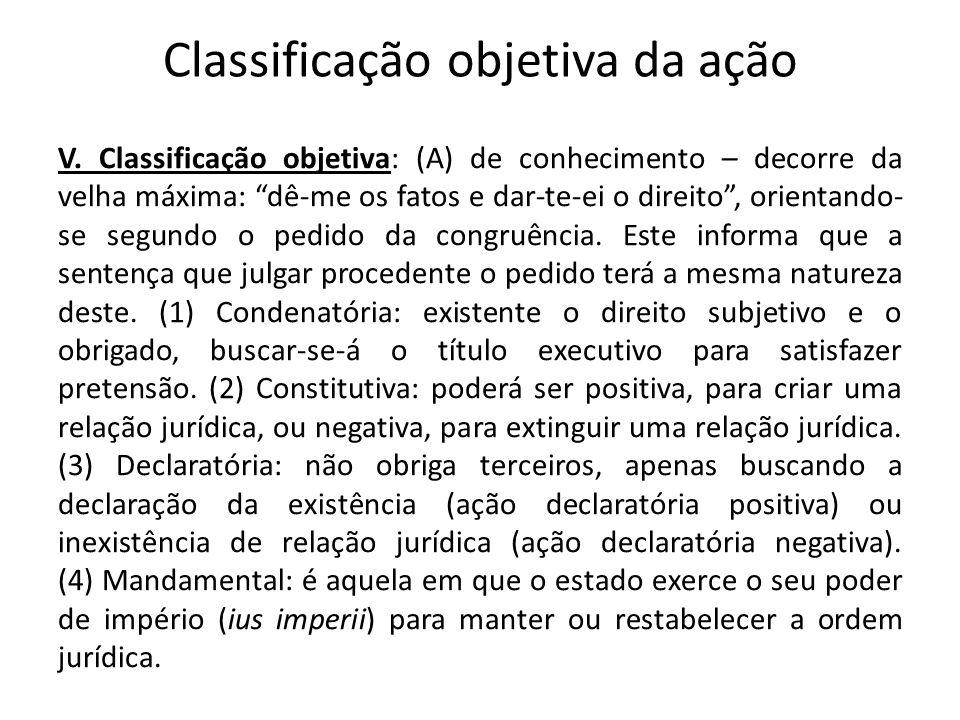Classificação objetiva da ação V. Classificação objetiva: (A) de conhecimento – decorre da velha máxima: dê-me os fatos e dar-te-ei o direito, orienta