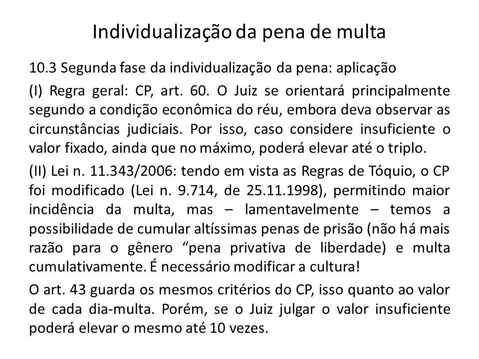 Individualização da pena de multa 10.3 Segunda fase da individualização da pena: aplicação (I) Regra geral: CP, art. 60. O Juiz se orientará principal