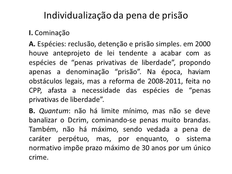 Individualização da pena de prisão I. Cominação A. Espécies: reclusão, detenção e prisão simples. em 2000 houve anteprojeto de lei tendente a acabar c