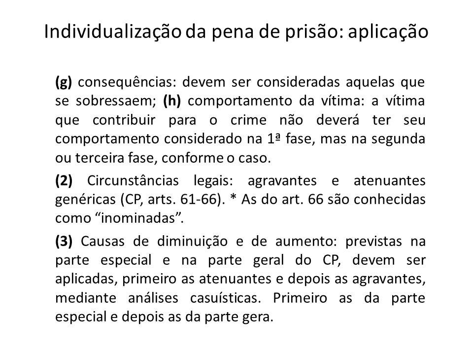 Individualização da pena de prisão: aplicação (g) consequências: devem ser consideradas aquelas que se sobressaem; (h) comportamento da vítima: a víti