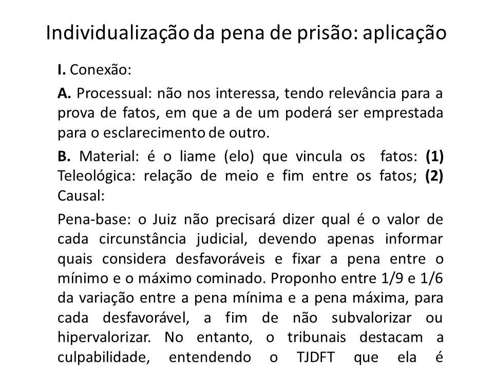 Individualização da pena de prisão: aplicação I. Conexão: A. Processual: não nos interessa, tendo relevância para a prova de fatos, em que a de um pod