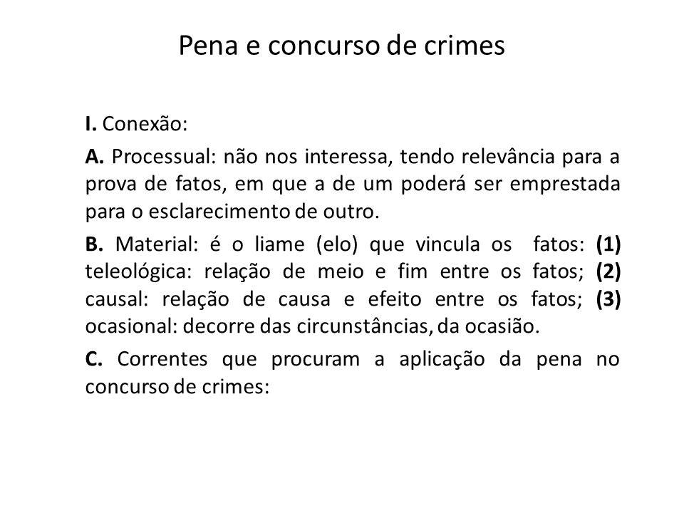 Pena e concurso de crimes I. Conexão: A. Processual: não nos interessa, tendo relevância para a prova de fatos, em que a de um poderá ser emprestada p