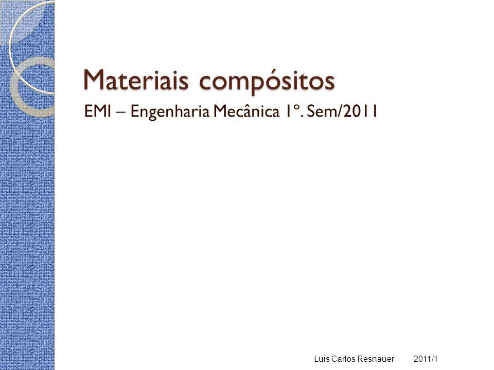 Materiais compósitos EMI – Engenharia Mecânica 1º. Sem/2011 Luis Carlos Resnauer 2011/1