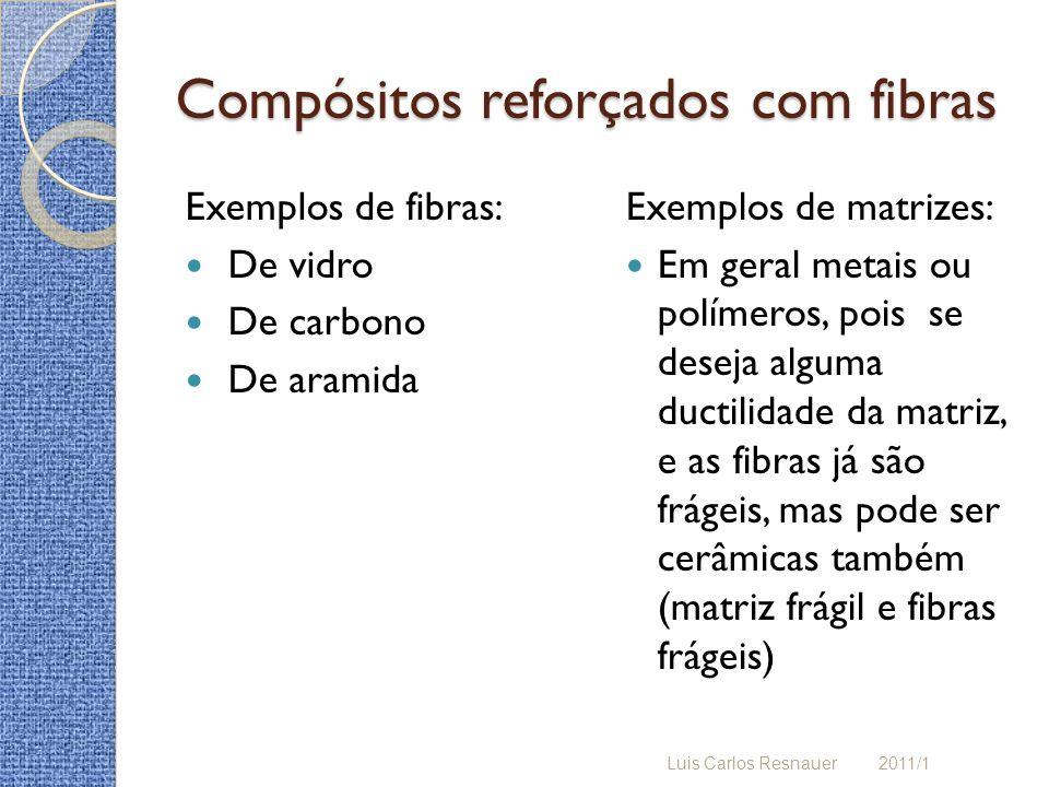 Compósitos reforçados com fibras Exemplos de fibras: De vidro De carbono De aramida Exemplos de matrizes: Em geral metais ou polímeros, pois se deseja alguma ductilidade da matriz, e as fibras já são frágeis, mas pode ser cerâmicas também (matriz frágil e fibras frágeis) Luis Carlos Resnauer 2011/1
