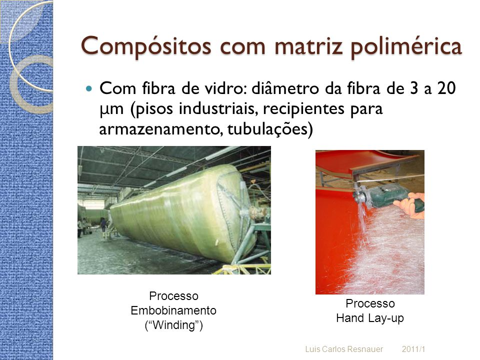 Compósitos com matriz polimérica Com fibra de vidro: diâmetro da fibra de 3 a 20 μ m (pisos industriais, recipientes para armazenamento, tubulações) Luis Carlos Resnauer 2011/1 Processo Hand Lay-up Processo Embobinamento (Winding)