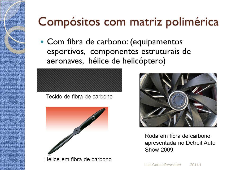 Compósitos com matriz polimérica Com fibra de carbono: (equipamentos esportivos, componentes estruturais de aeronaves, hélice de helicóptero) Luis Car