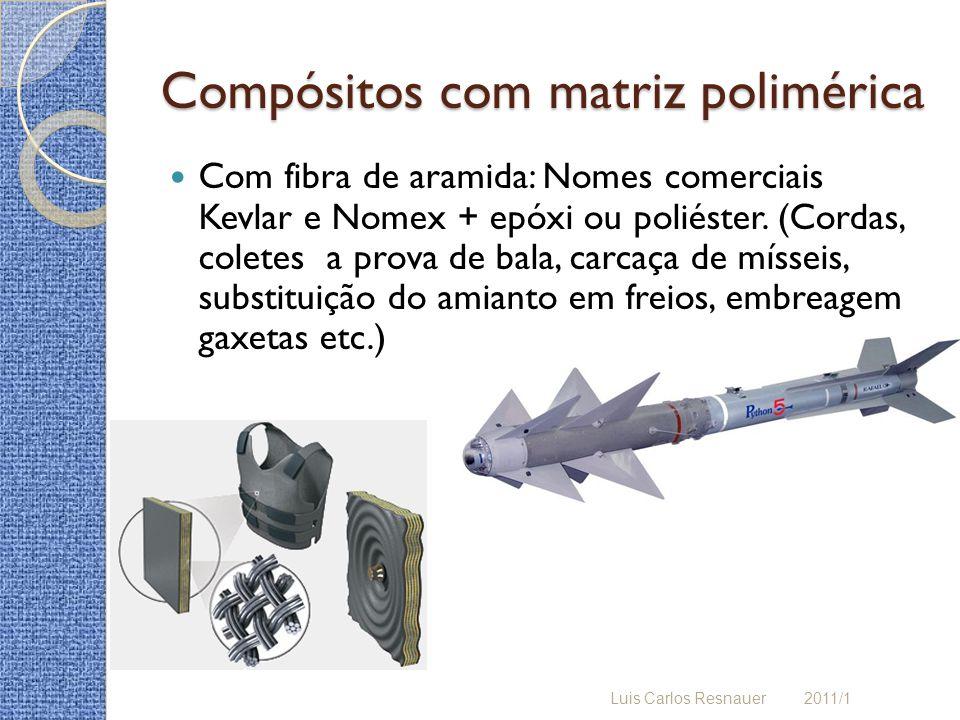 Compósitos com matriz polimérica Com fibra de aramida: Nomes comerciais Kevlar e Nomex + epóxi ou poliéster. (Cordas, coletes a prova de bala, carcaça