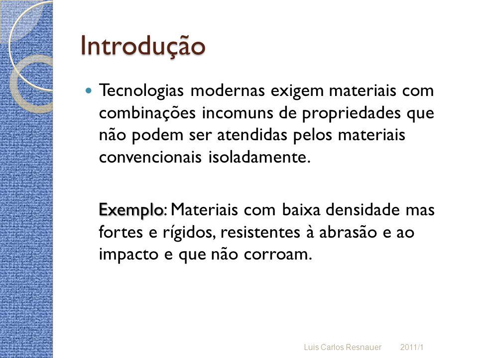 Introdução Compósito Compósito: Material multifásico, obtido da combinação de materiais diferentes a fim de atingir propriedades que os componentes individuais não atingem.