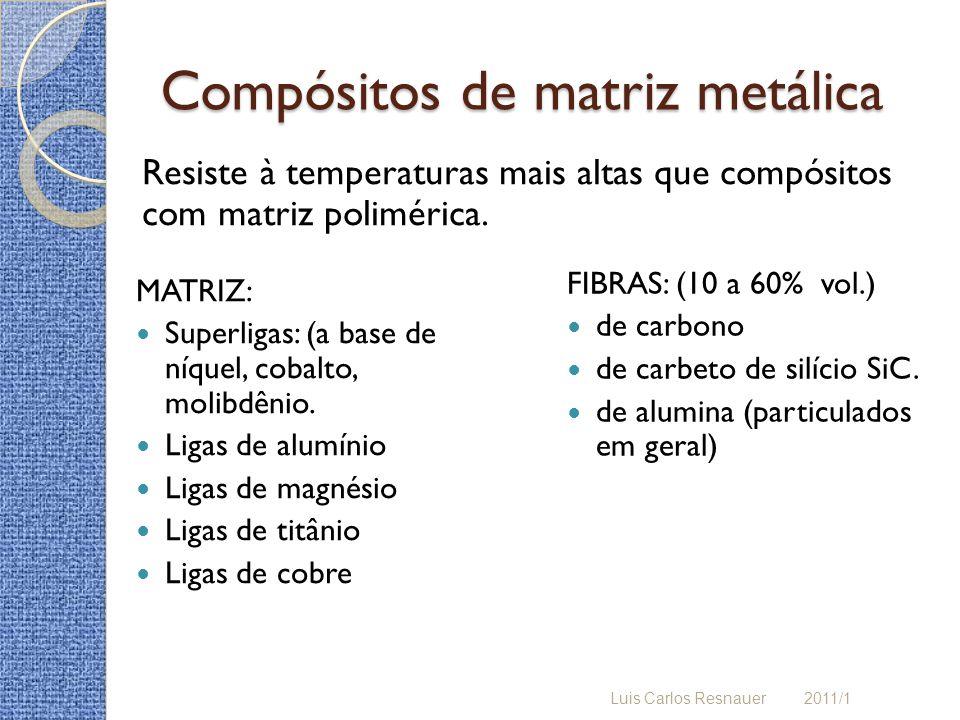 Compósitos de matriz metálica MATRIZ: Superligas: (a base de níquel, cobalto, molibdênio. Ligas de alumínio Ligas de magnésio Ligas de titânio Ligas d