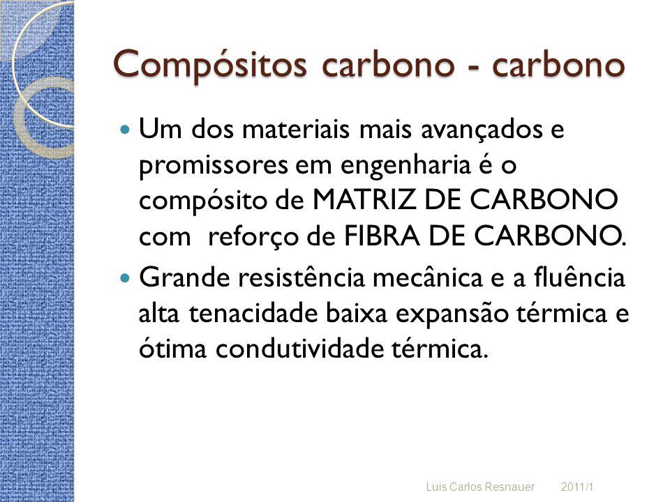 Compósitos carbono - carbono Um dos materiais mais avançados e promissores em engenharia é o compósito de MATRIZ DE CARBONO com reforço de FIBRA DE CARBONO.