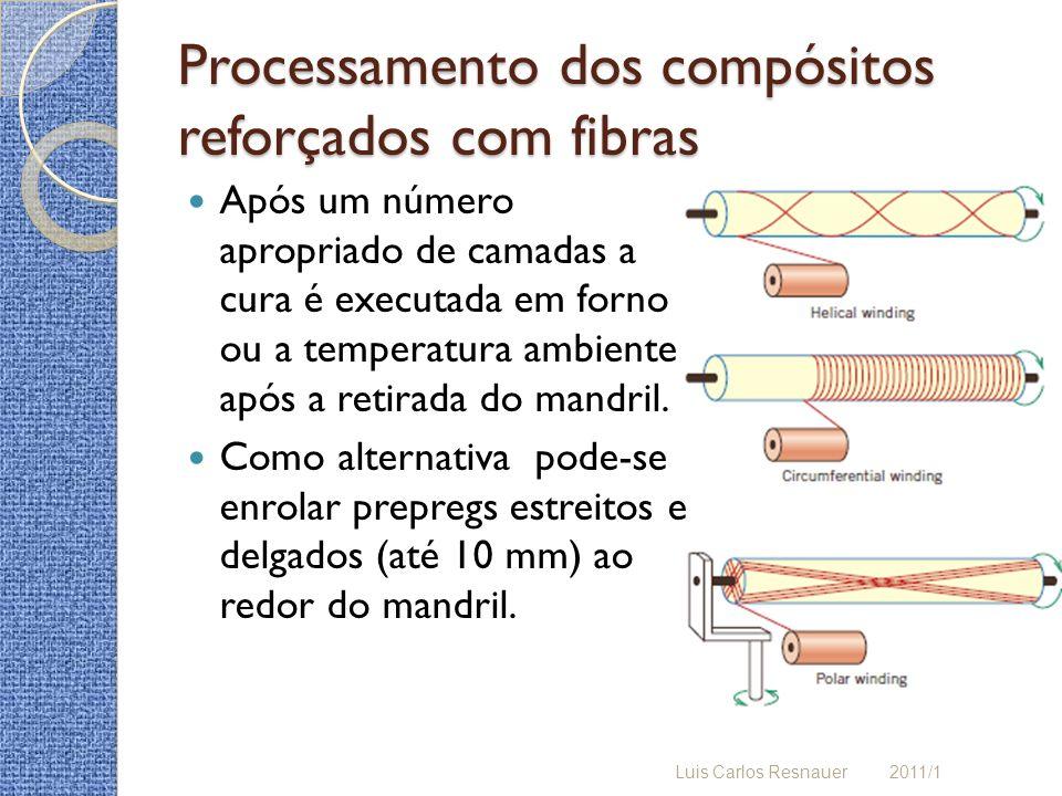 Processamento dos compósitos reforçados com fibras Após um número apropriado de camadas a cura é executada em forno ou a temperatura ambiente após a retirada do mandril.