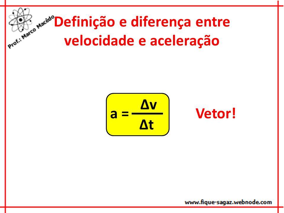 Definição e diferença entre velocidade e aceleração a = v t Vetor!