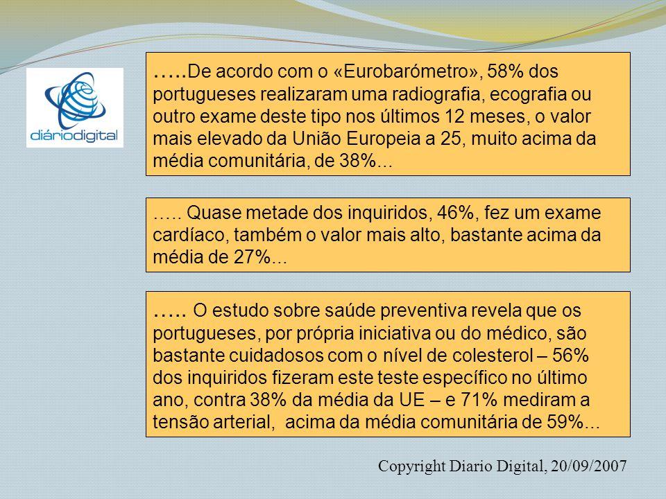 ….. De acordo com o «Eurobarómetro», 58% dos portugueses realizaram uma radiografia, ecografia ou outro exame deste tipo nos últimos 12 meses, o valor