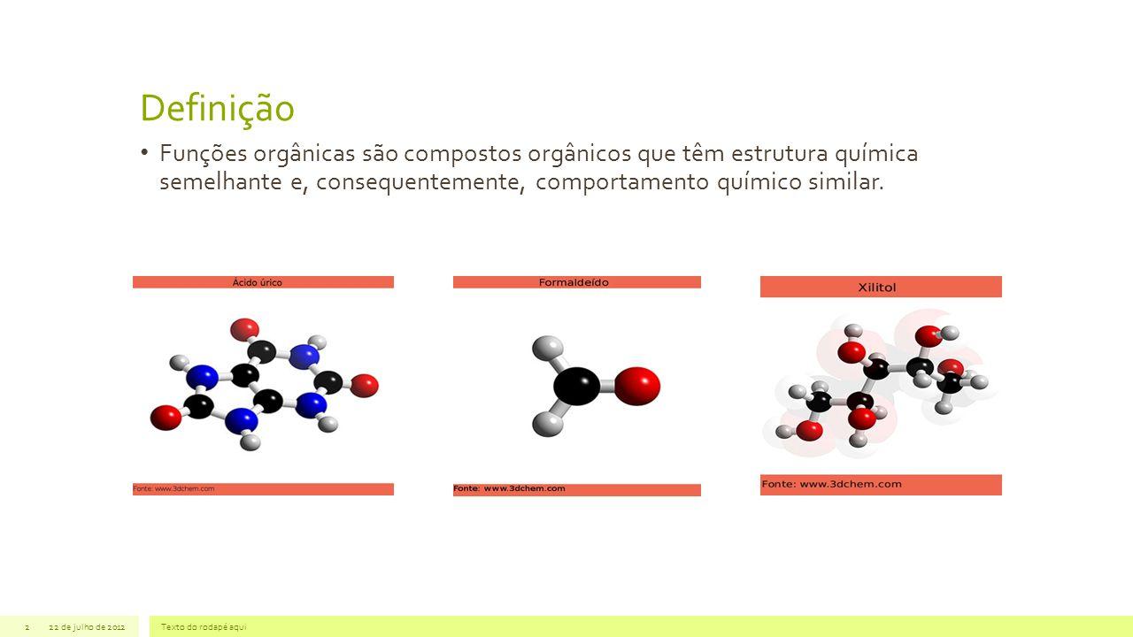 Definição 22 de julho de 2012Texto do rodapé aqui2 Funções orgânicas são compostos orgânicos que têm estrutura química semelhante e, consequentemente,