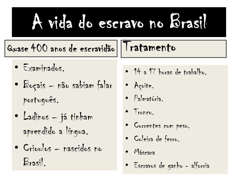 A vida do escravo no Brasil Quase 400 anos de escravidão Examinados. Boçais – não sabiam falar português. Ladinos – já tinham aprendido a língua. Crio