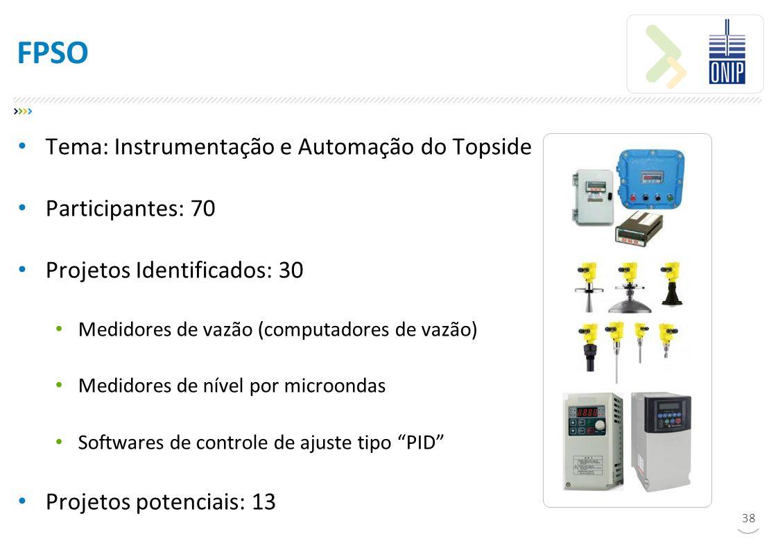 FPSO Tema: Instrumentação e Automação do Topside Participantes: 70 Projetos Identificados: 30 Medidores de vazão (computadores de vazão) Medidores de nível por microondas Softwares de controle de ajuste tipo PID Projetos potenciais: 13 38