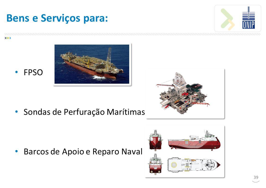 Bens e Serviços para: FPSO Sondas de Perfuração Marítimas Barcos de Apoio e Reparo Naval 39
