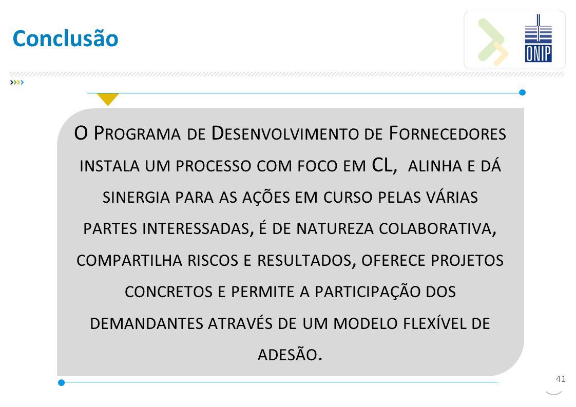 O P ROGRAMA DE D ESENVOLVIMENTO DE F ORNECEDORES INSTALA UM PROCESSO COM FOCO EM CL, ALINHA E DÁ SINERGIA PARA AS AÇÕES EM CURSO PELAS VÁRIAS PARTES INTERESSADAS, É DE NATUREZA COLABORATIVA, COMPARTILHA RISCOS E RESULTADOS, OFERECE PROJETOS CONCRETOS E PERMITE A PARTICIPAÇÃO DOS DEMANDANTES ATRAVÉS DE UM MODELO FLEXÍVEL DE ADESÃO.