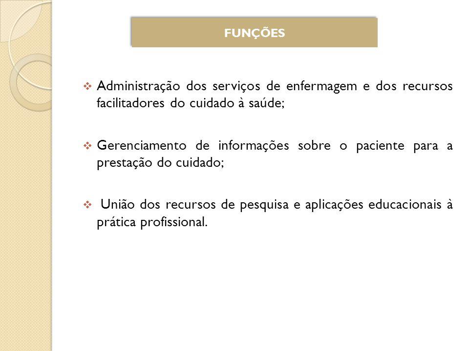 Administração dos serviços de enfermagem e dos recursos facilitadores do cuidado à saúde; Gerenciamento de informações sobre o paciente para a prestação do cuidado; União dos recursos de pesquisa e aplicações educacionais à prática profissional.