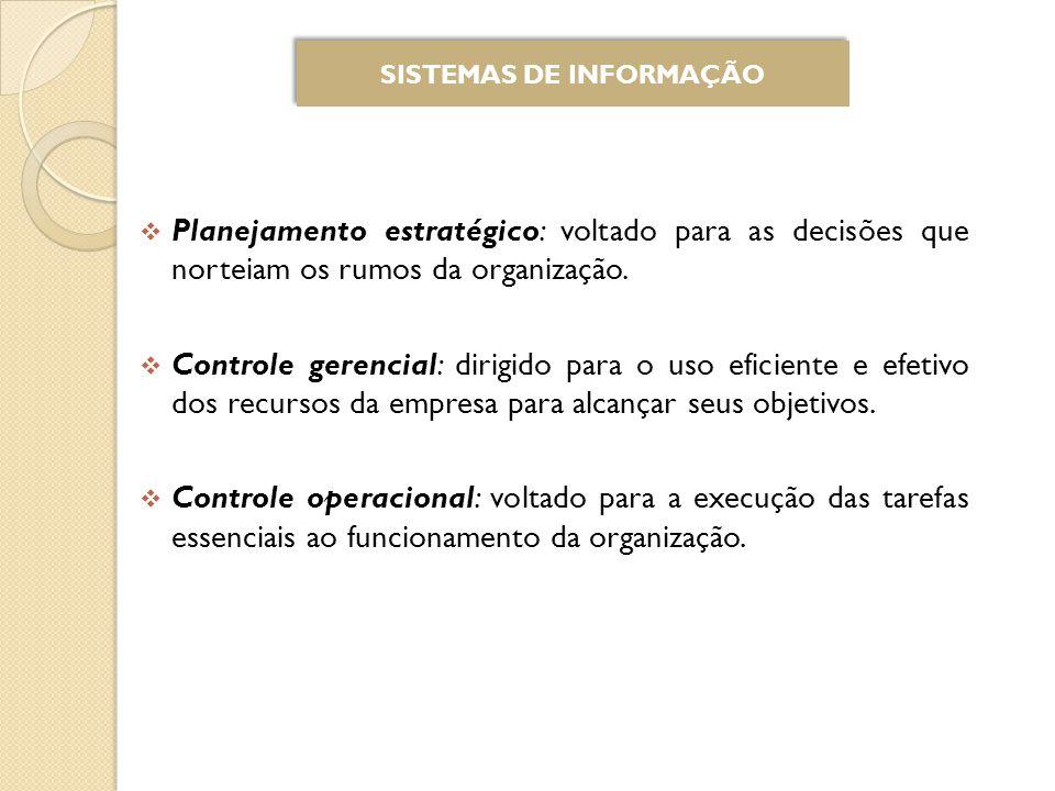 Planejamento estratégico: voltado para as decisões que norteiam os rumos da organização.