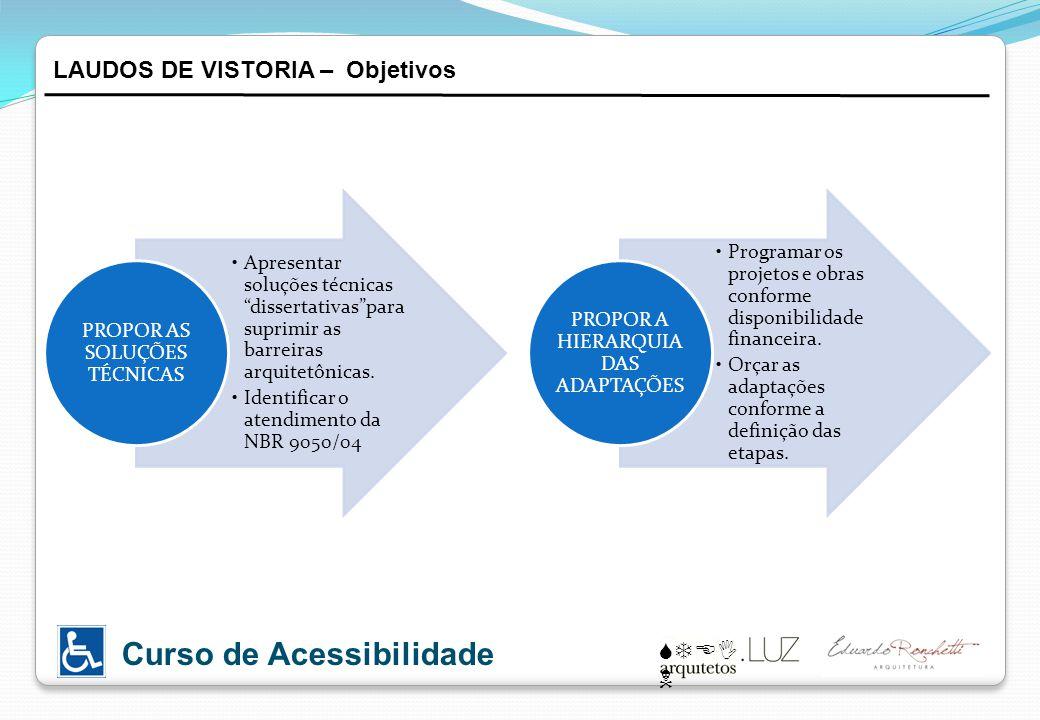 STEI N Curso de Acessibilidade Apresentar soluções técnicas dissertativaspara suprimir as barreiras arquitetônicas. Identificar o atendimento da NBR 9