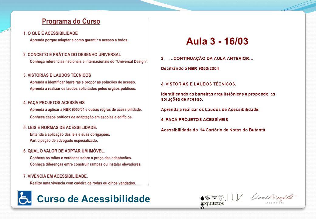 STEI N Curso de Acessibilidade Aula 3 - 16/03 2. …CONTINUAÇÃO DA AULA ANTERIOR… Decifrando a NBR 9050/2004 3. VISTORIAS E LAUDOS TÉCNICOS. Identifican