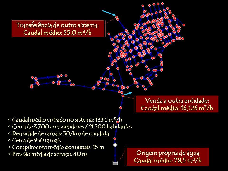 Caudal médio entrado no sistema: 133,5 m 3 /h Cerca de 3 700 consumidores / 11 500 habitantes Densidade de ramais: 30/km de conduta Cerca de 950 ramais Comprimento médio dos ramais: 15 m Pressão média de serviço: 40 m Origem própria de água Caudal médio: 78,5 m 3 /h Venda a outra entidade: Caudal médio: 16,126 m 3 /h Transferência de outro sistema: Caudal médio: 55,0 m 3 /h