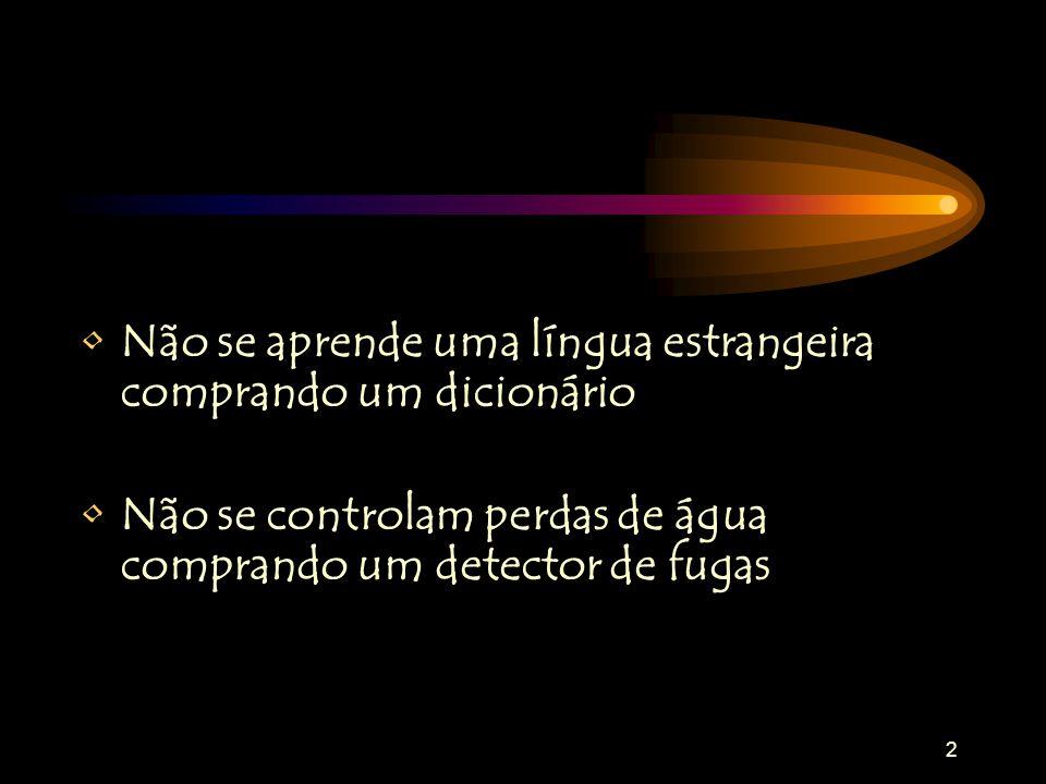 2 Não se aprende uma língua estrangeira comprando um dicionário Não se controlam perdas de água comprando um detector de fugas