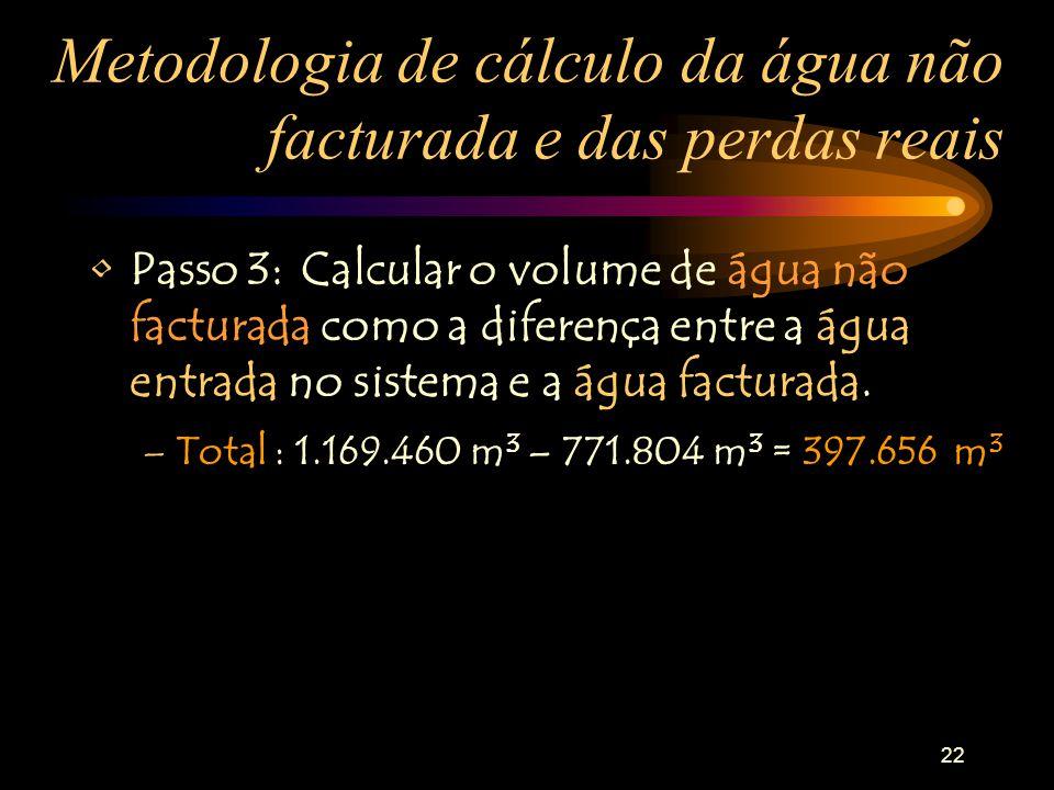 22 Metodologia de cálculo da água não facturada e das perdas reais Passo 3:Calcular o volume de água não facturada como a diferença entre a água entra