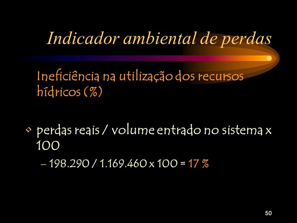 50 Indicador ambiental de perdas Ineficiência na utilização dos recursos hídricos (%) perdas reais / volume entrado no sistema x 100 –198.290 / 1.169.460 x 100 = 17 %
