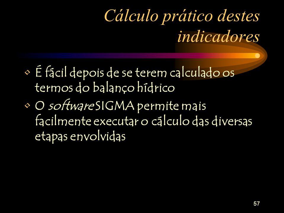57 Cálculo prático destes indicadores É fácil depois de se terem calculado os termos do balanço hídrico O software SIGMA permite mais facilmente executar o cálculo das diversas etapas envolvidas