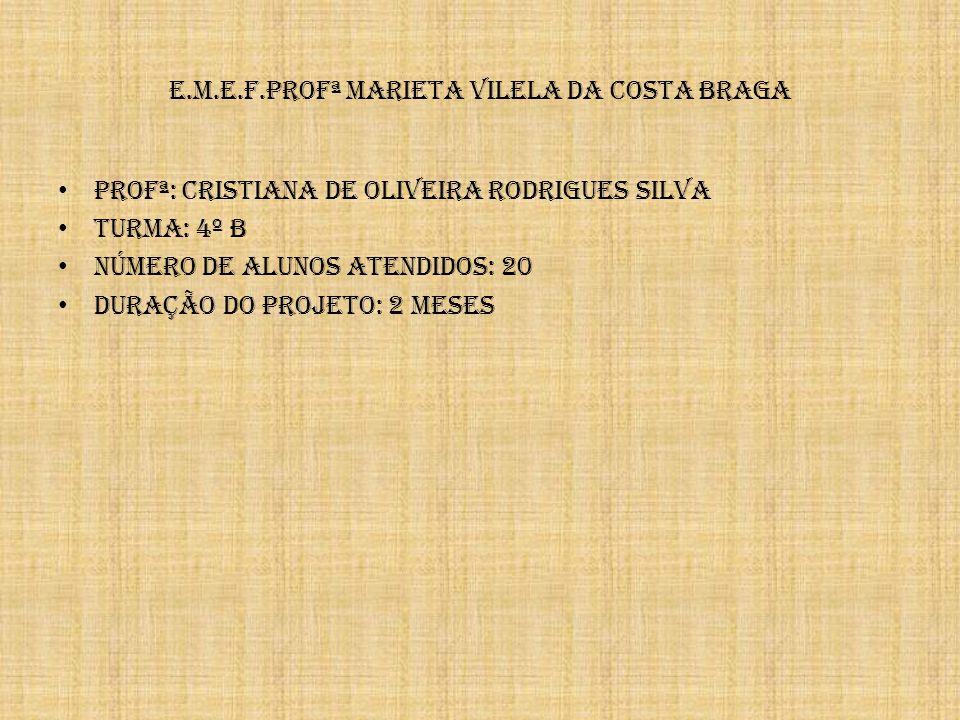 e.m.e.f.profª Marieta Vilela da Costa Braga Profª: Cristiana de Oliveira Rodrigues Silva Turma: 4º B NÚMERO DE ALUNOS ATENDIDOS: 20 DURAÇÃO DO PROJETO: 2 MESES