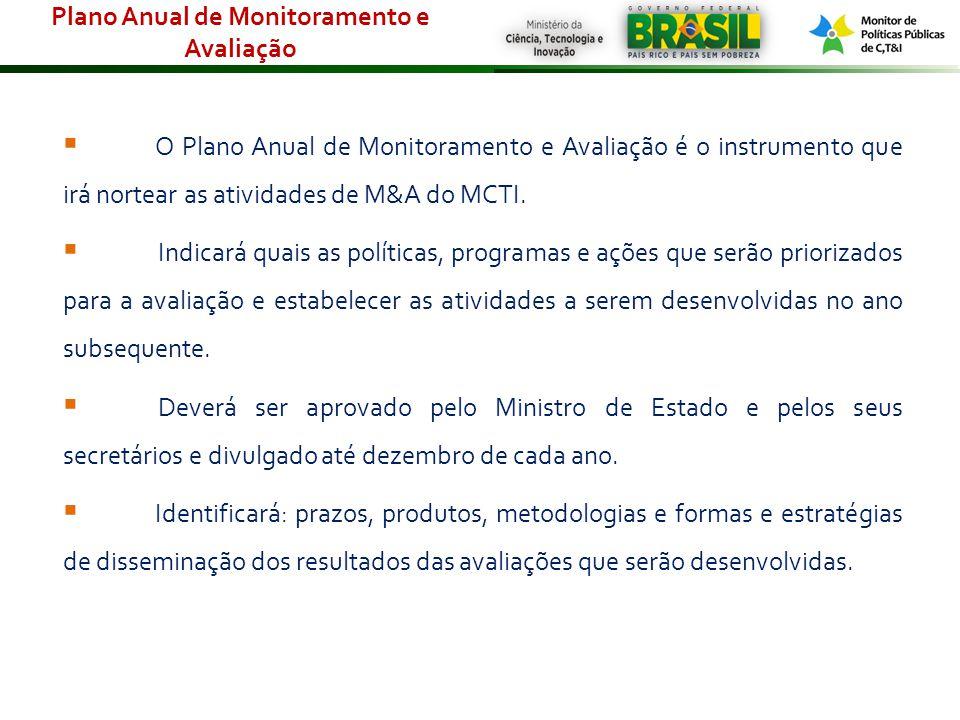 O Plano Anual de Monitoramento e Avaliação é o instrumento que irá nortear as atividades de M&A do MCTI. Indicará quais as políticas, programas e açõe