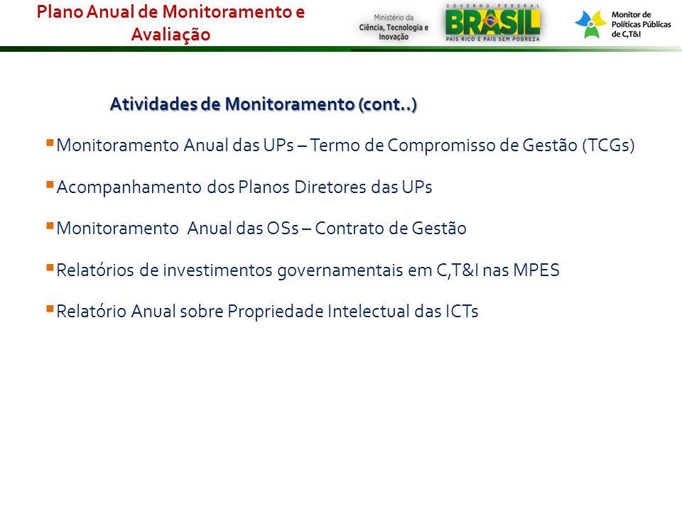 Atividades de Monitoramento (cont..) Monitoramento Anual das UPs – Termo de Compromisso de Gestão (TCGs) Acompanhamento dos Planos Diretores das UPs M