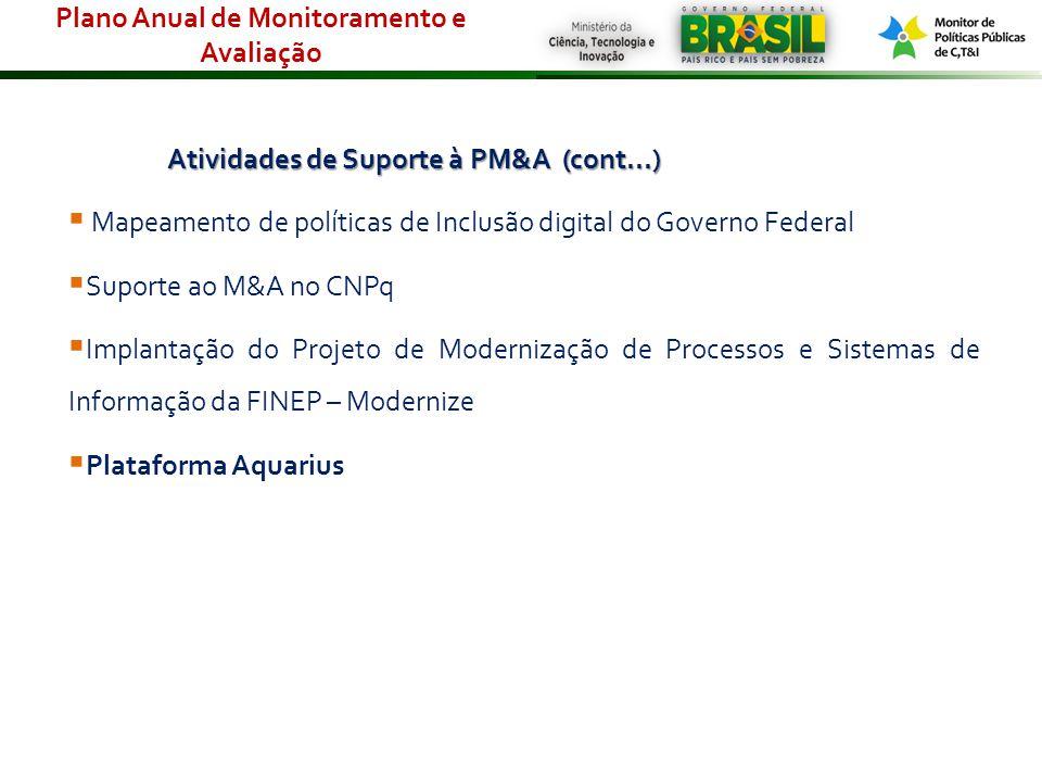Atividades de Suporte à PM&A (cont...) Mapeamento de políticas de Inclusão digital do Governo Federal Suporte ao M&A no CNPq Implantação do Projeto de